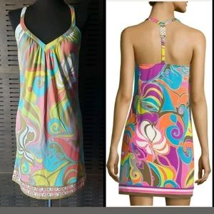 Trina Turk Resot Wear Silk Mod Swirl T Back Dress